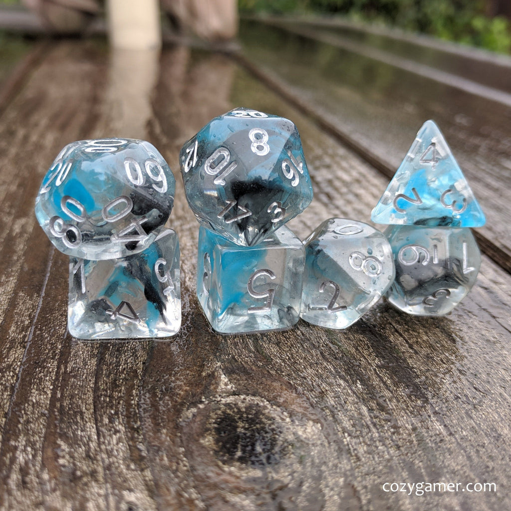 Sea Wraith Dice Set, Transluscent Resin Dice with Black and Teal Ink - CozyGamer