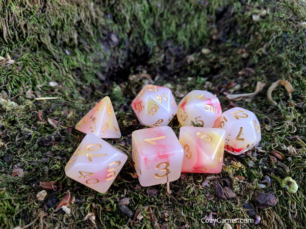 Kobold Candle DnD Dice Set, Cloudy Red and Orange Dice