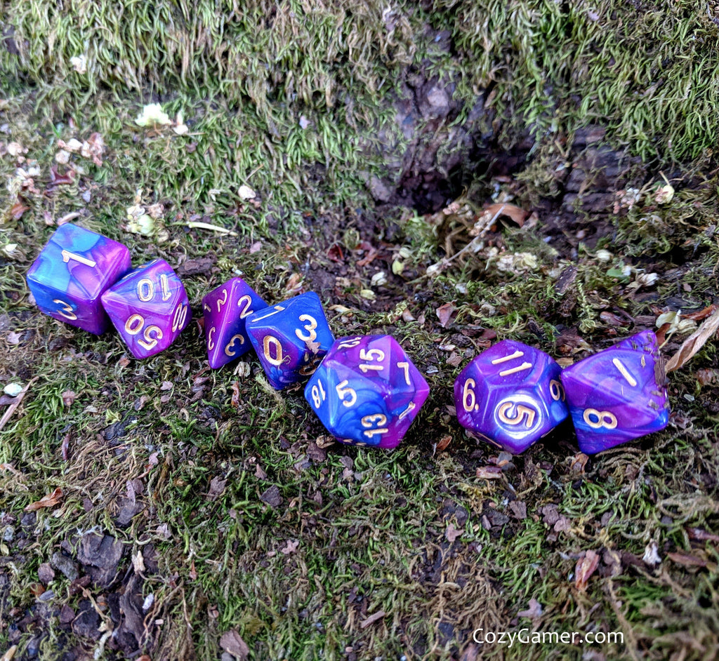 Deviant Dice Set, Pearly Blue and Purple Dice - CozyGamer