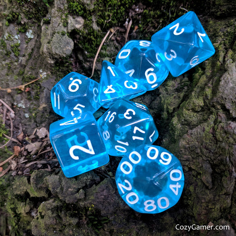 Caster Blue Dice Set, Translucent Dice