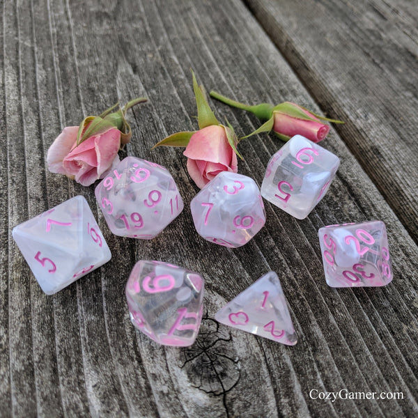 Rosemance Dice Set, Translucent White Ink Nebula 7 Piece D&D Dice Set