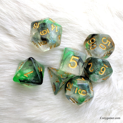 Venom DnD Dice Set, Green and Black Translucent Glitter Dice