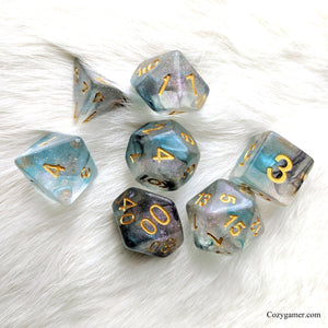 Shade DnD Dice Set, Blue and Black Translucent Glitter Dice