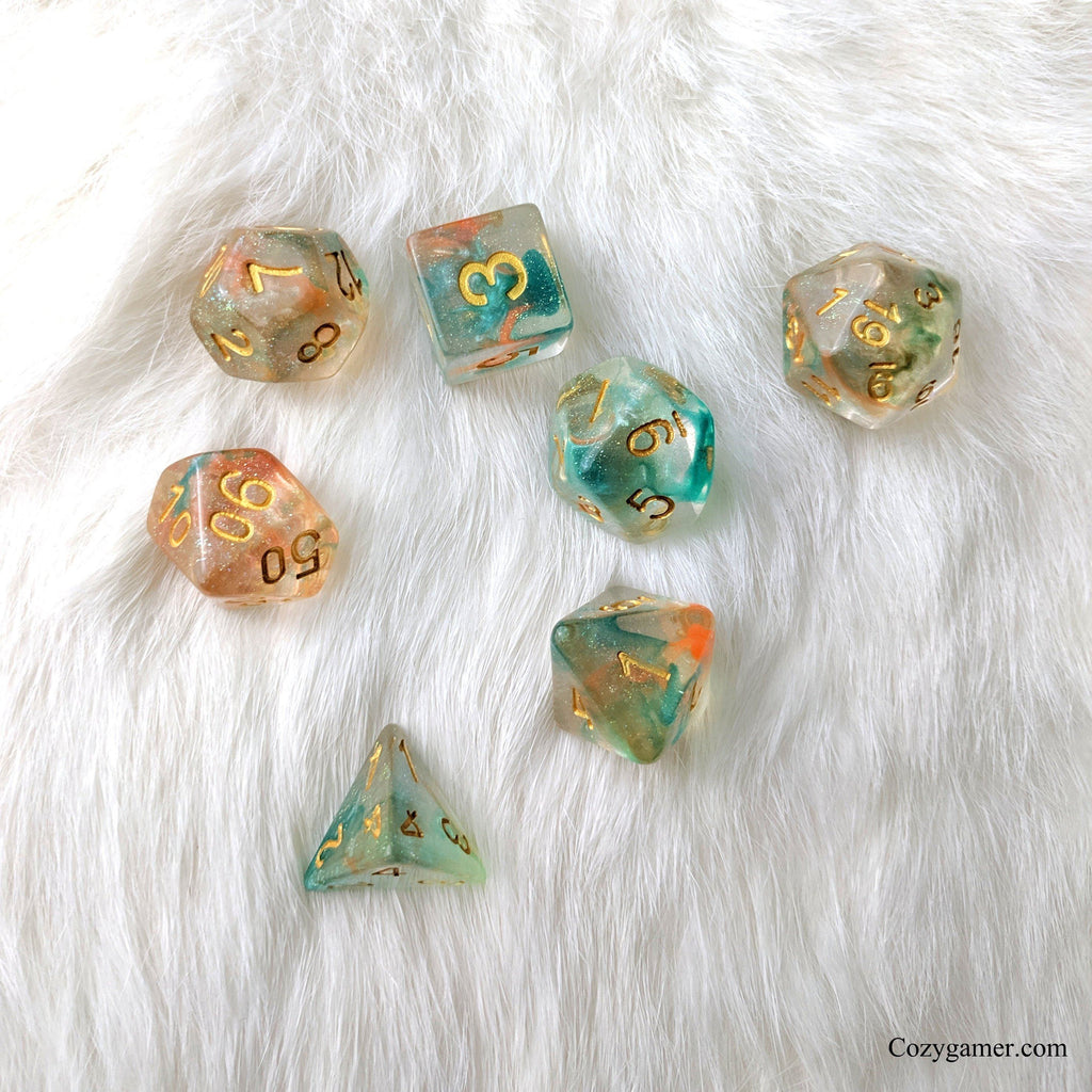 Koi Pond DnD Dice Set, Blue and Orange Translucent Glitter Dice - CozyGamer