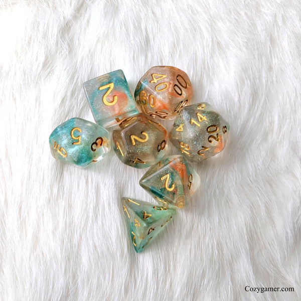 Koi Pond DnD Dice Set, Blue and Orange Translucent Glitter Dice