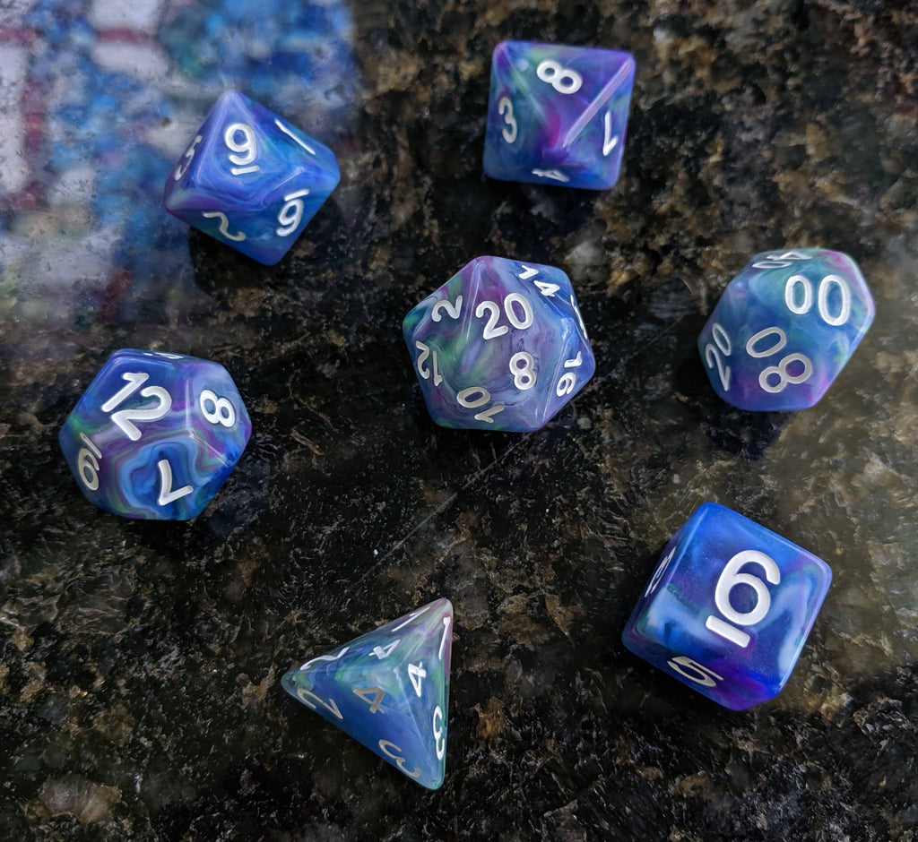 Muse Dice Set, Swirled Blue, Purple, and Green Ink 7 Piece D&D Dice Set - CozyGamer