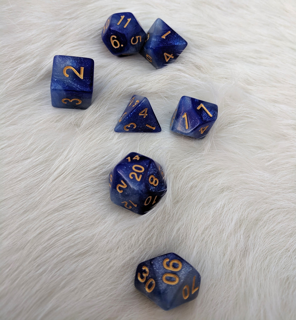 Azure Mage Dice Set, Blue and Silver Glitter Marbled 7 Piece D&D Dice Set - CozyGamer
