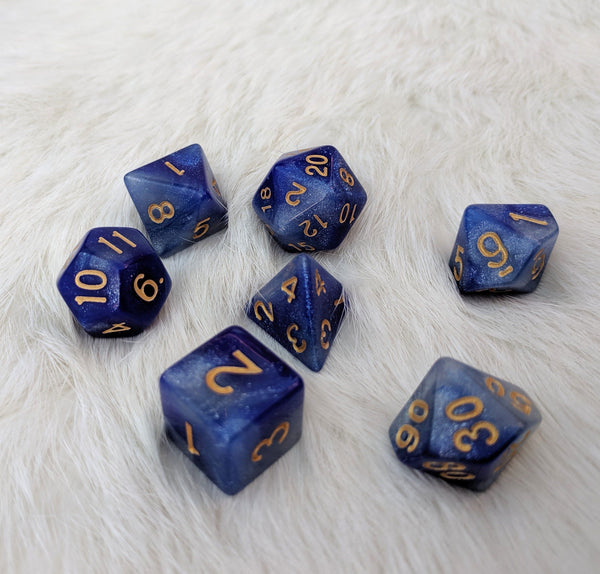 Azure Mage Dice Set, Blue and Silver Glitter Marbled 7 Piece D&D Dice Set