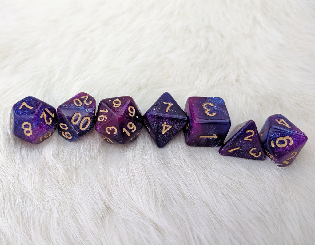 Galactic Dice Set, Blue and Purple Glitter Marbled 7 Piece D&D Dice Set - CozyGamer
