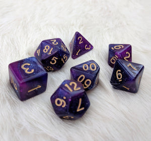 Galactic Dice Set, Blue and Purple Glitter Marbled 7 Piece D&D Dice Set