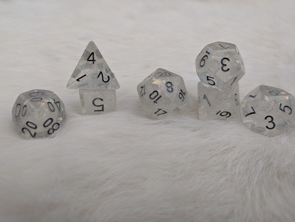 Celestial Silver Dice Set, Transluscent Resin Dice with Flake and Micro Iridescent glitter - CozyGamer