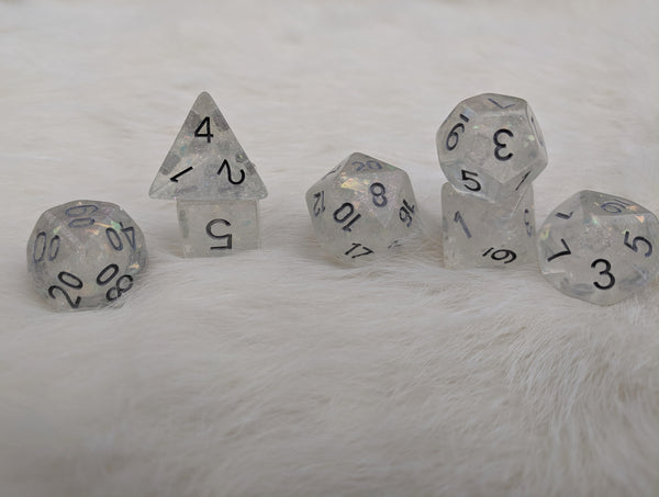 Celestial Silver Dice Set, Transluscent Resin Dice with Flake and Micro Iridescent glitter