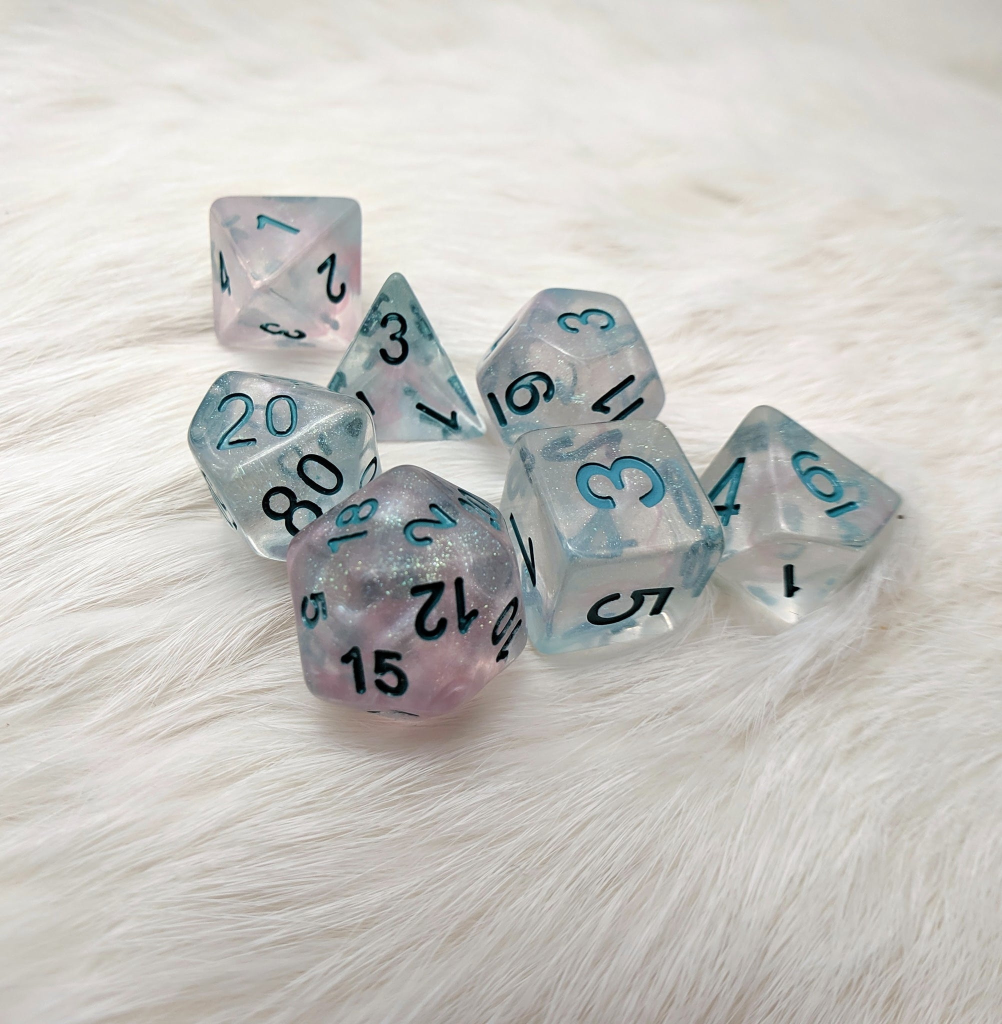 Winter Walker DnD Dice Set, Micro glitter shimmering dice