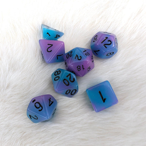 Glow in the Dark Blue and Purple Dice Set