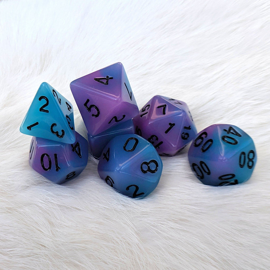 Glow in the Dark Blue and Purple Dice Set - CozyGamer