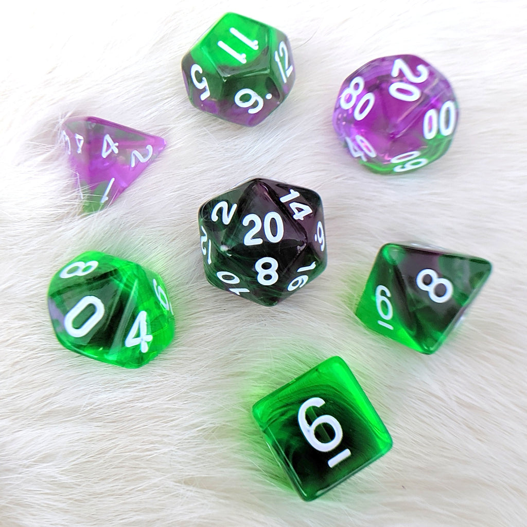 Violet Evergreen Dice Set, Translucent Two Tone Dice - CozyGamer