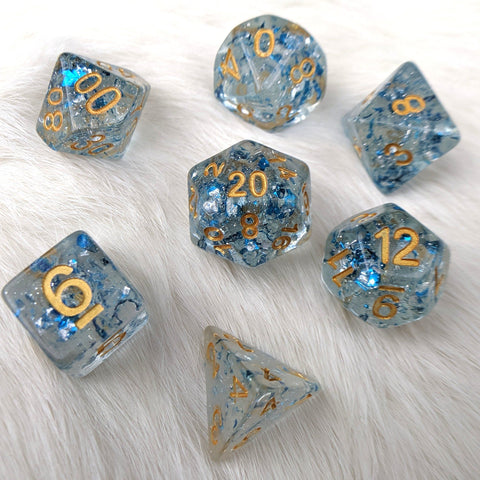 Metallic Sapphire Dice Set, Blue Translucent Glitter Flake Dice