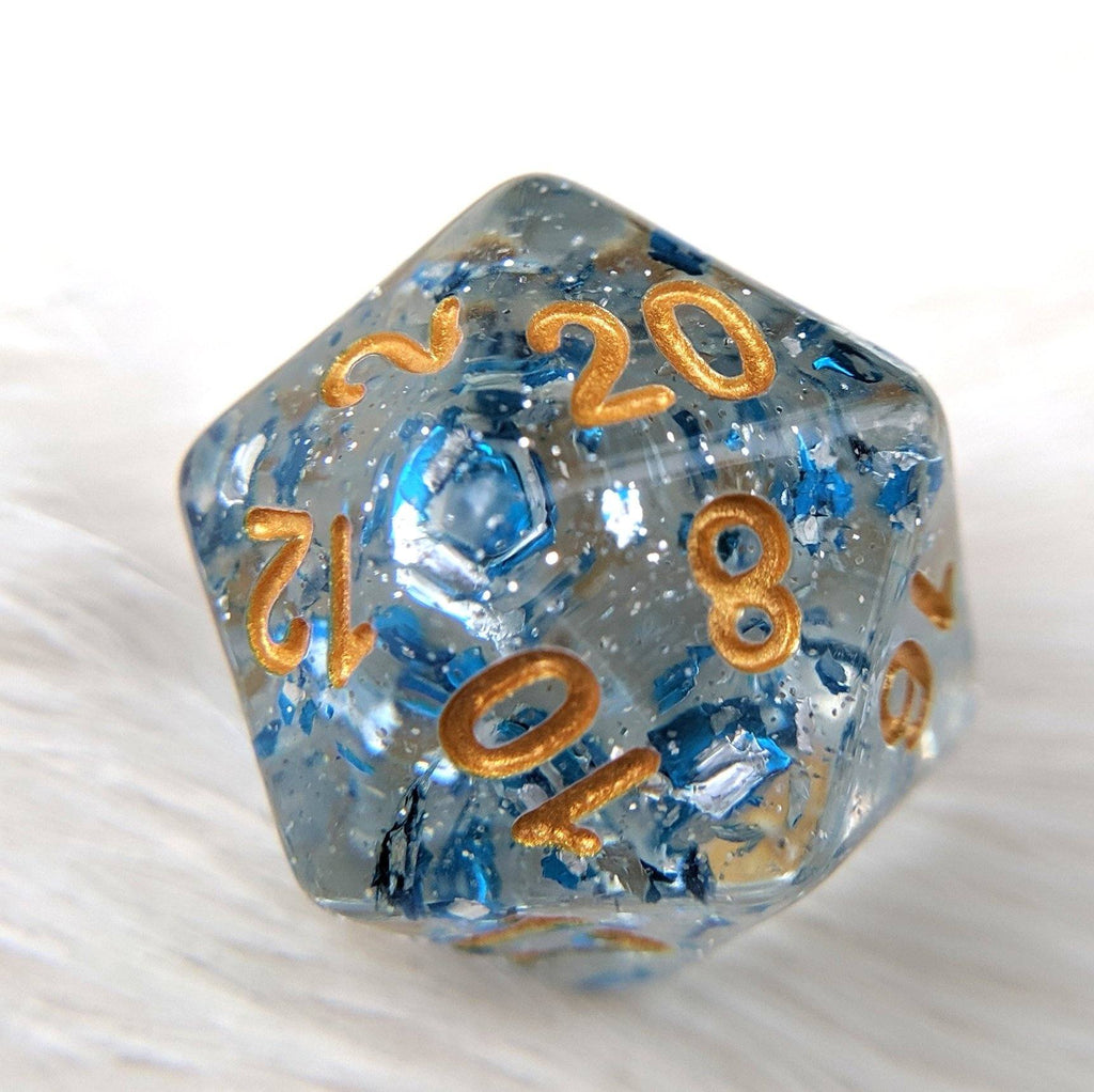 Metallic Sapphire Dice Set, Blue Translucent Glitter Flake Dice - CozyGamer