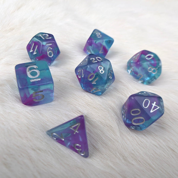 Aquarium Ribbon Dice Set, Translucent Blue With Purple Ink