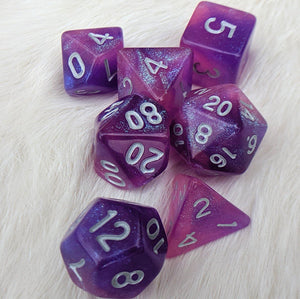 Royal Aurora DnD Dice Set, Purple and Pink Semi Translucent Glitter Dice