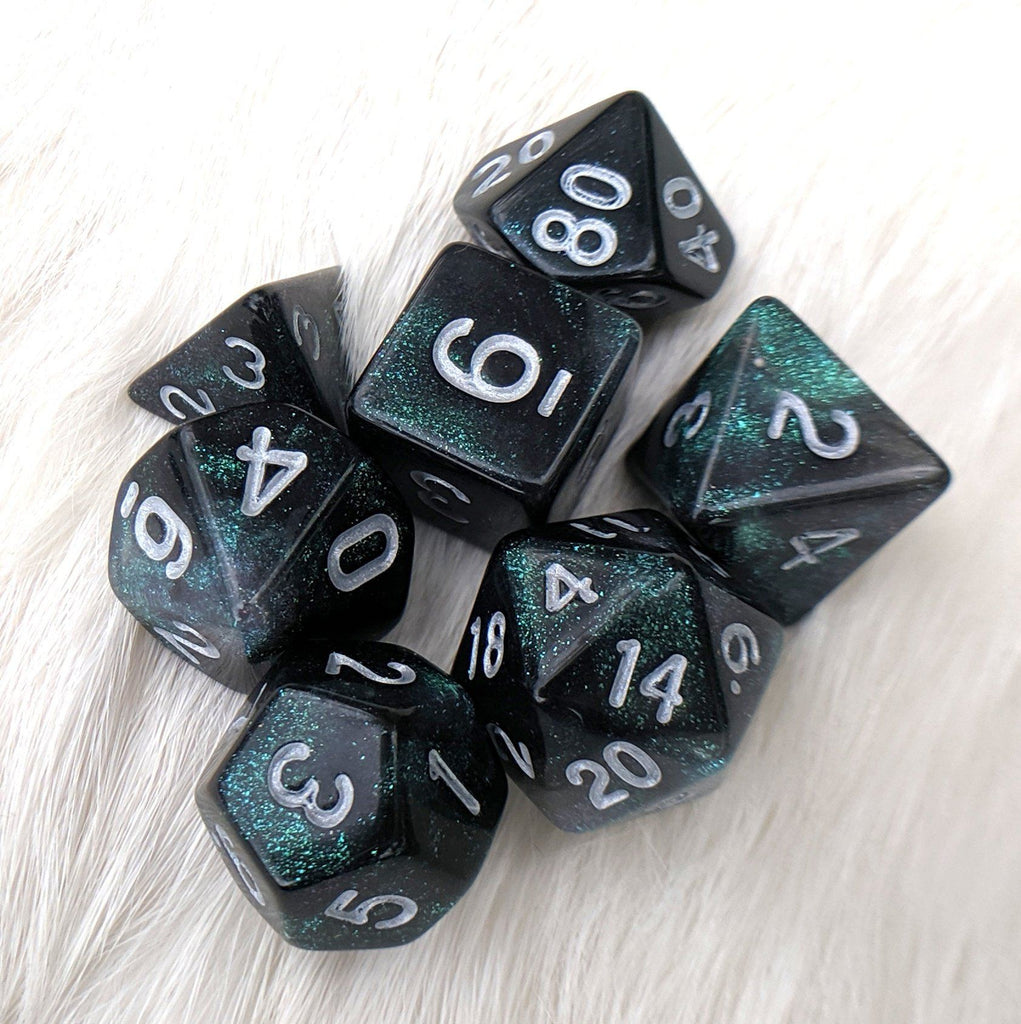 Everclear Aurora DnD Dice Set, Black and Green Micro Glitter Dice - CozyGamer