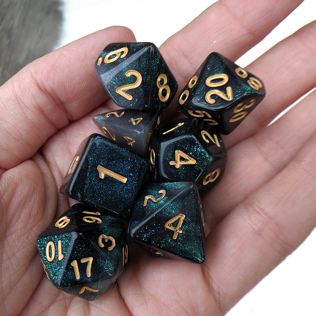 Emerald Aurora DnD Dice Set, Black and Green Micro Glitter Dice - CozyGamer