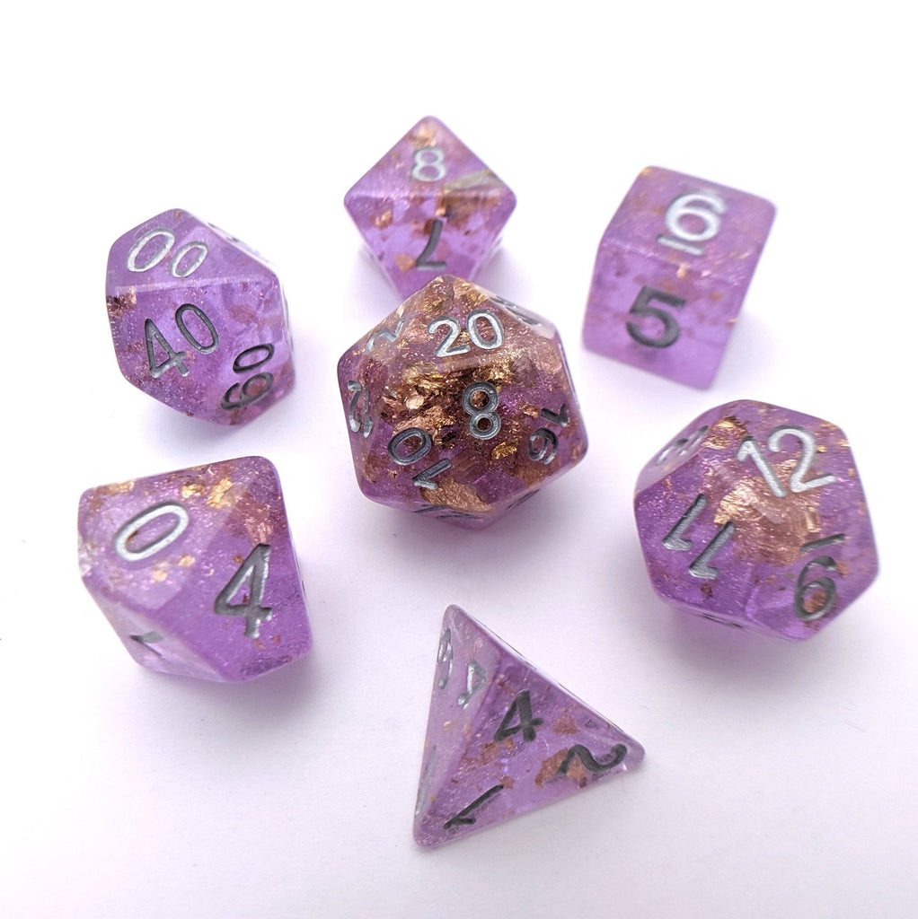 Amethyst Scepter DnD Dice Set, Purple Translucent Glitter Dice with Gold Foil - CozyGamer