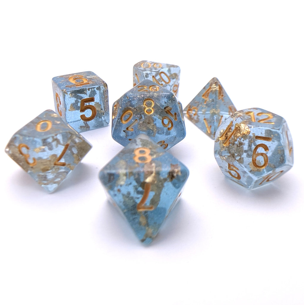 Azure Scepter DnD Dice Set, Blue Translucent Glitter Dice with Gold Foil - CozyGamer