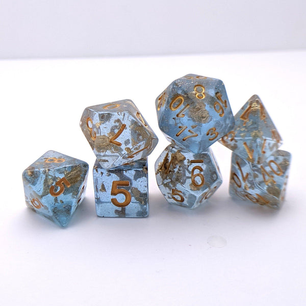 Azure Scepter DnD Dice Set, Blue Translucent Glitter Dice with Gold Foil