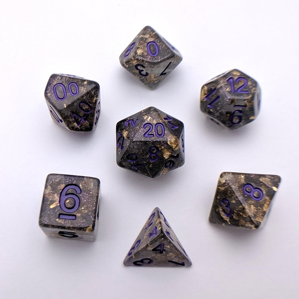 Obsidian Scepter DnD Dice Set, Black Translucent Glitter Dice with Gold Foil - CozyGamer