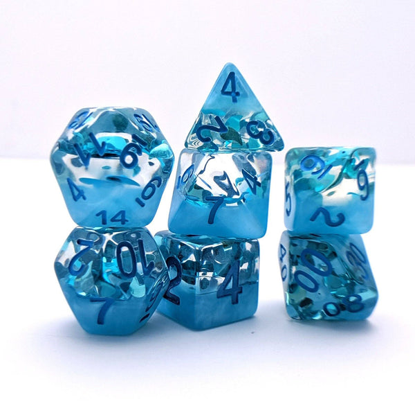 Rain Drops DnD Dice Set, Blue Rain Translucent Glitter Dice