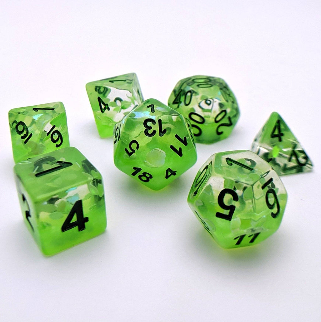 Plant Growth DnD Dice Set, Green Leaves Translucent Glitter Dice - CozyGamer