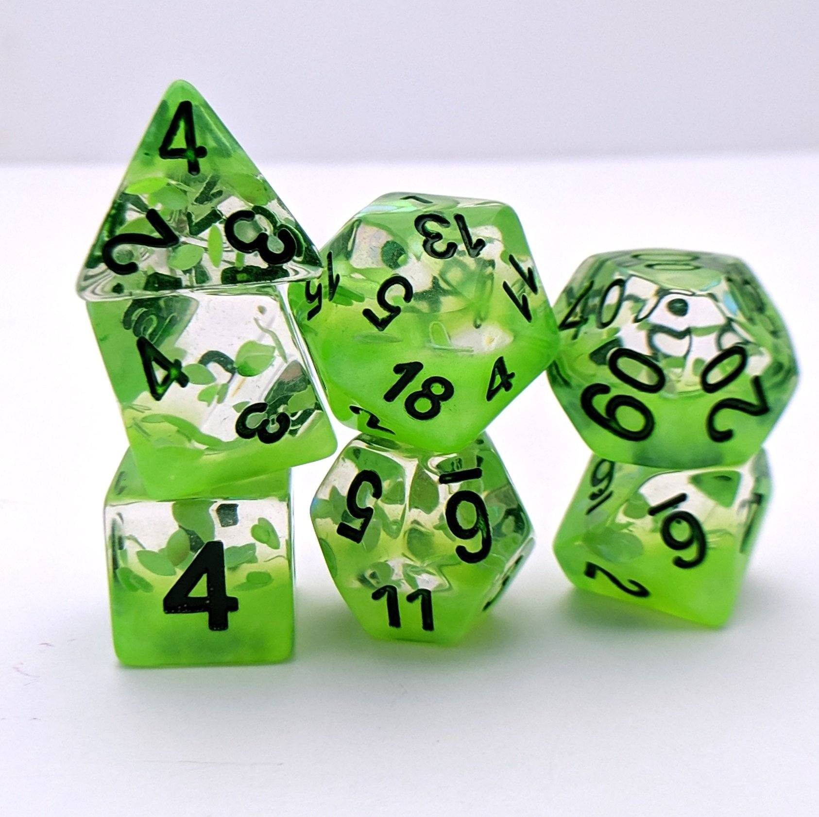 Plant Growth DnD Dice Set, Green Leaves Translucent Glitter Dice