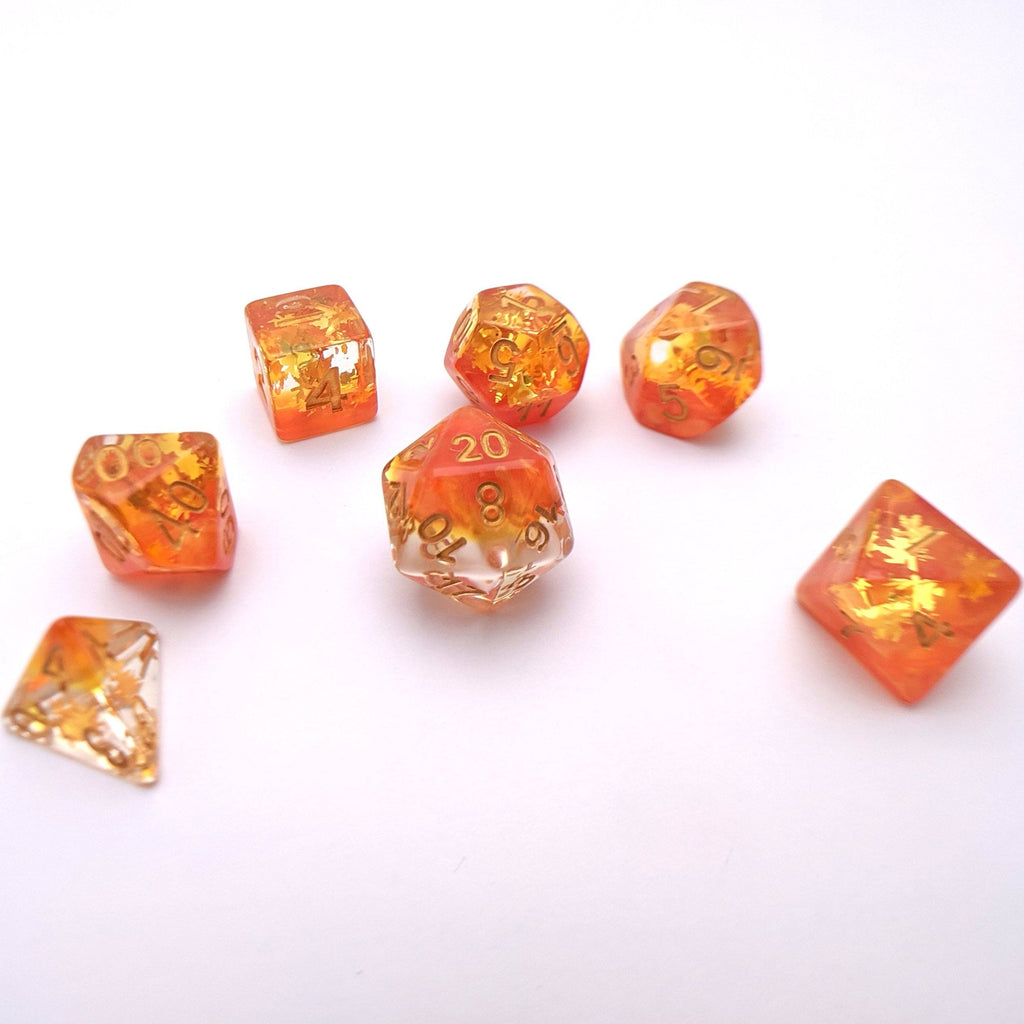 Harvest DnD Dice Set, Autumn Leaf Translucent Glitter Dice - CozyGamer
