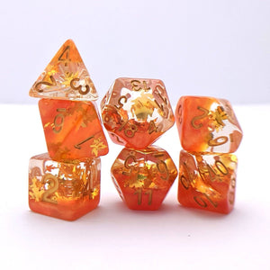Harvest DnD Dice Set, Autumn Leaf Translucent Glitter Dice