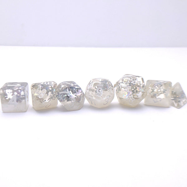 Winter DnD Dice Set, White Snow Flake Translucent Glitter Dice