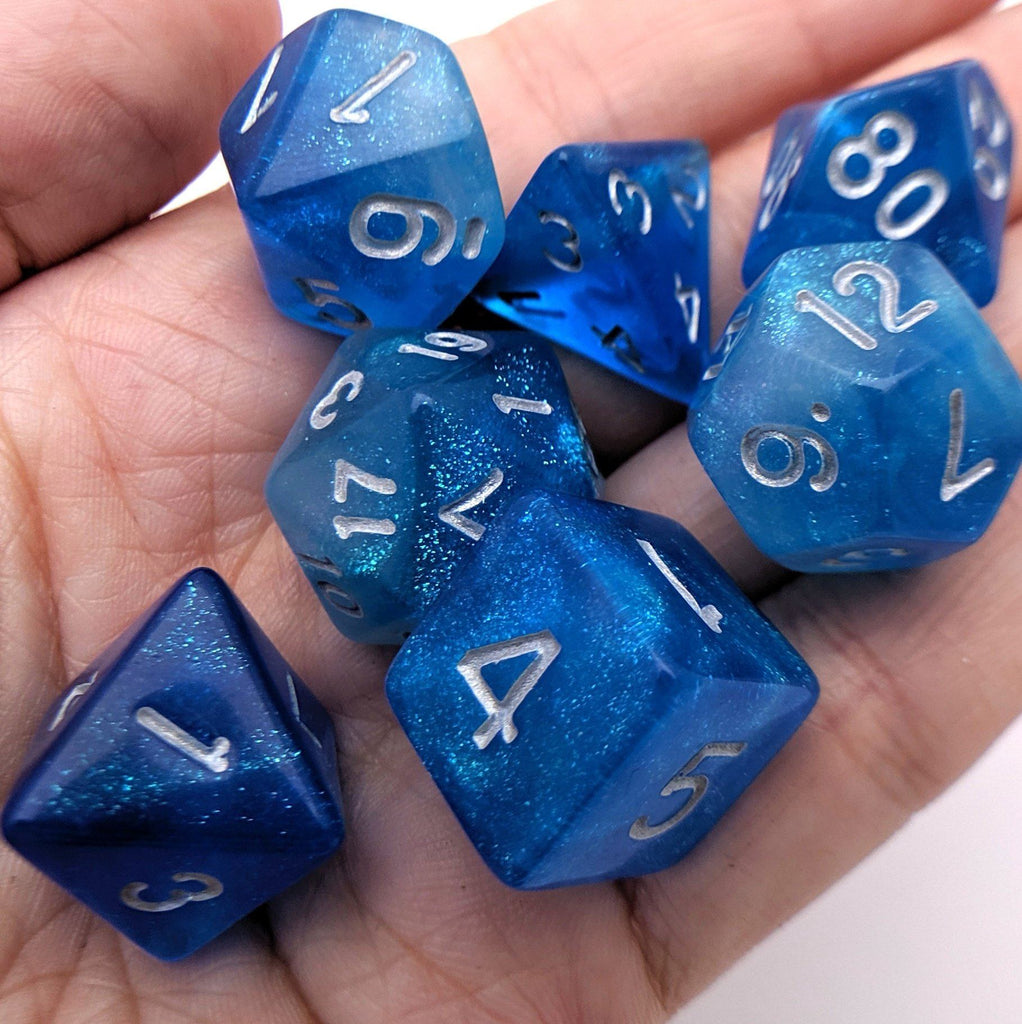 Mermaid Tears DnD Dice Set, Shimmering Blue Glitter Dice - CozyGamer