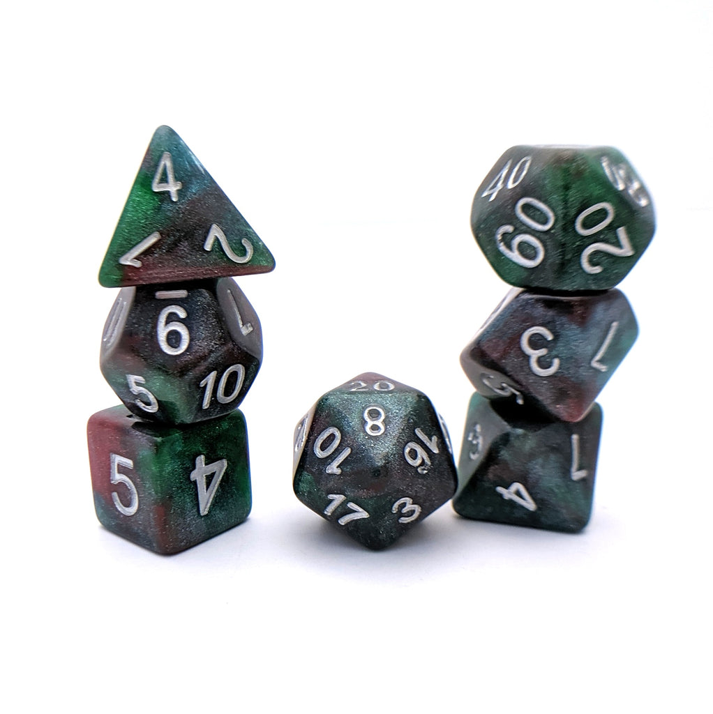 Woodsman DnD Dice Set, Green and Red Shimmer Dice - CozyGamer
