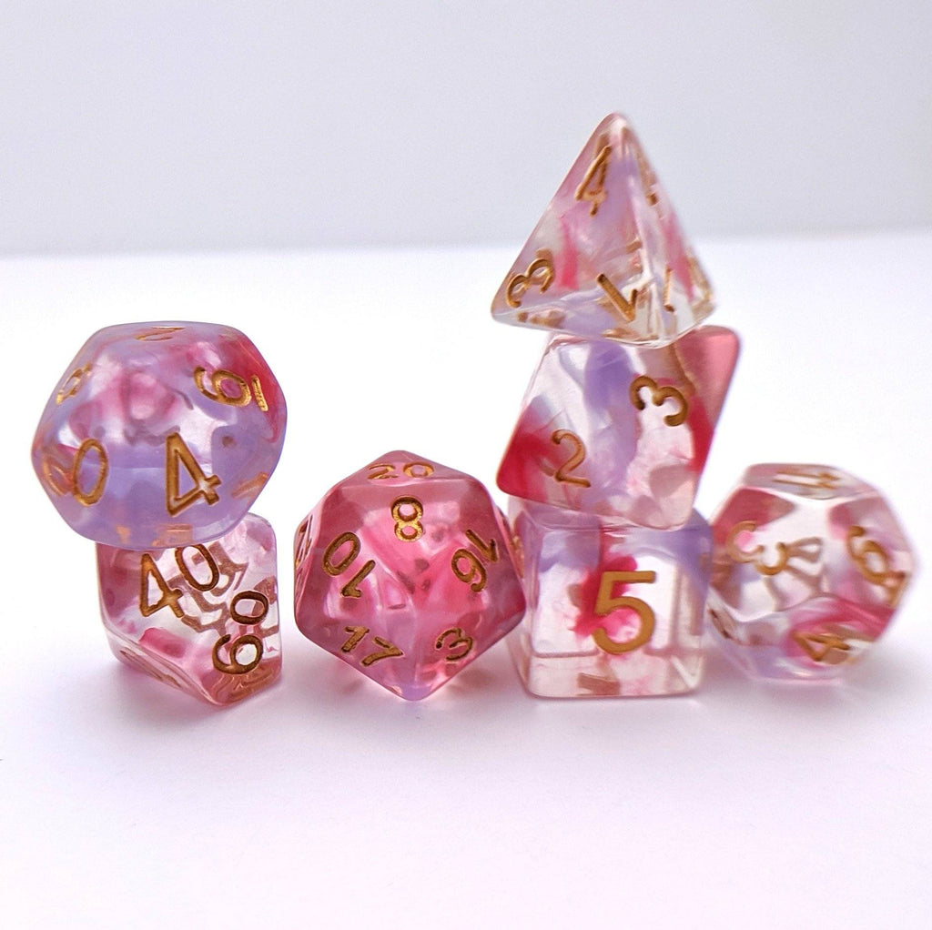 Bleeding Heart DnD Dice Set, Pink and Purple Ink Vapor Dice - CozyGamer