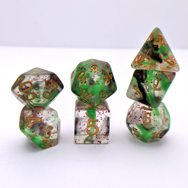 Deathtouch DnD Dice Set, Green and Black Ink Dice with Splattered Blood