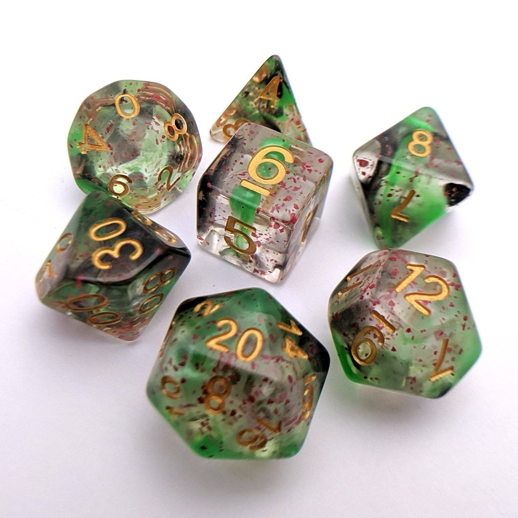 Deathtouch DnD Dice Set, Green and Black Ink Dice with Splattered Blood - CozyGamer