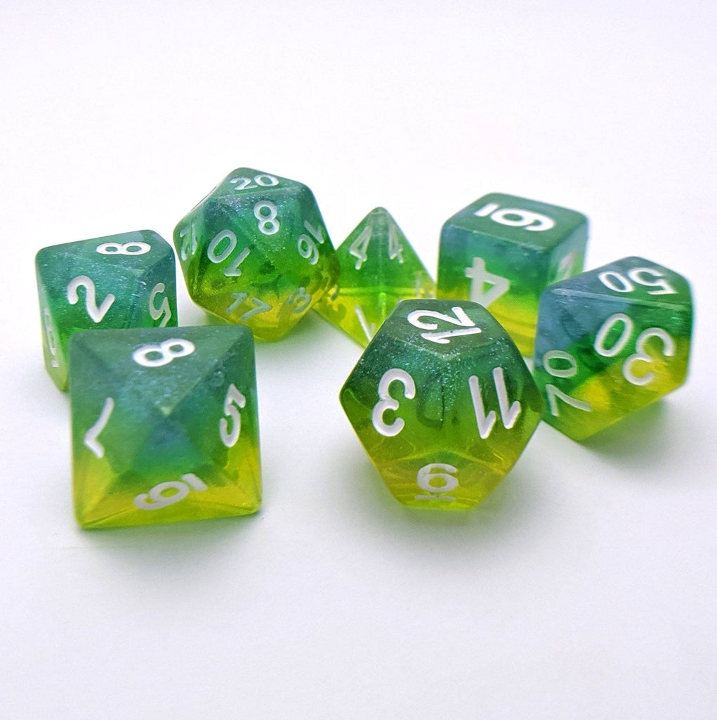 Genesis DnD Dice Set, Blue, green, and yellow Layer Glitter Dice - CozyGamer