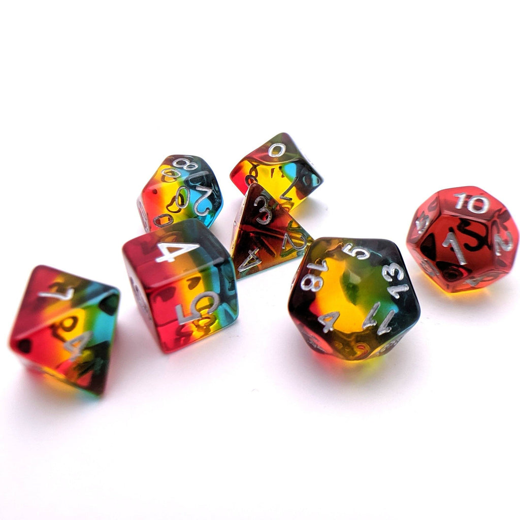 Tropicool DnD Dice Set, Rainbow Layer Dice - CozyGamer