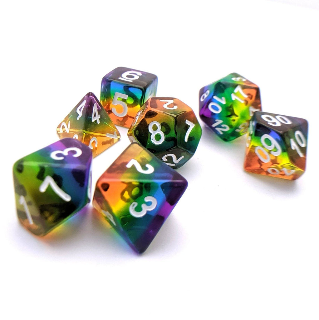 Rainbow Too DnD Dice Set, Rainbow Layer Dice - CozyGamer
