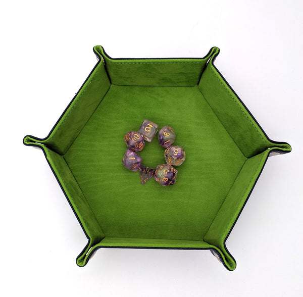 Green Velvet and PU leather Hexagonal Dice Tray