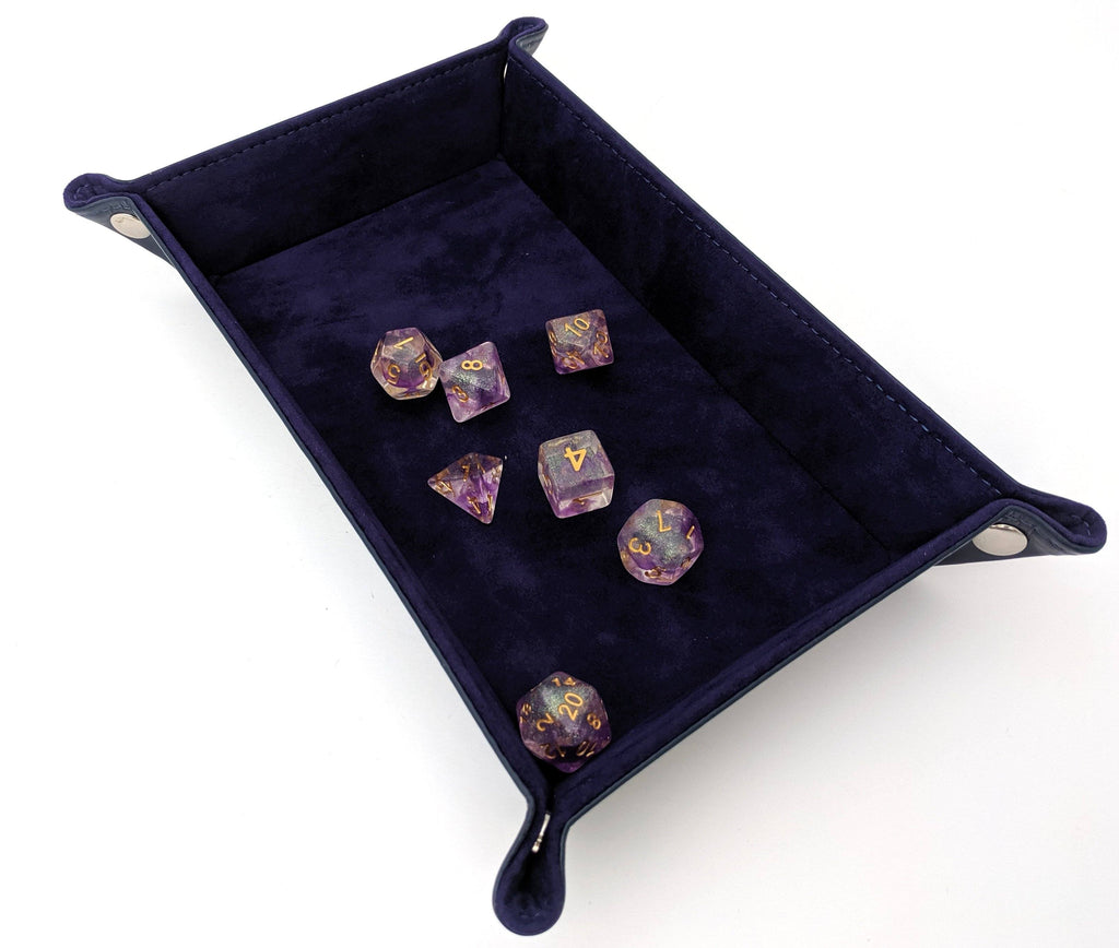 Dice Rolling Tray. Velvet and PU leather Rectangular Dice Tray - CozyGamer