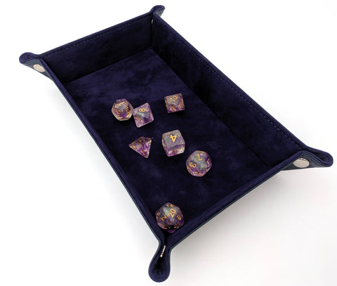 Purple Velvet and PU leather Rectangular Dice Tray