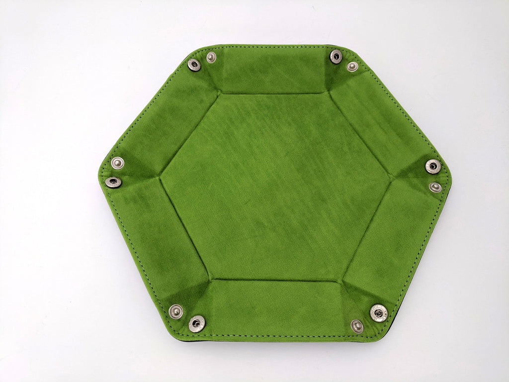 Green Velvet and PU leather Hexagonal Dice Tray - CozyGamer