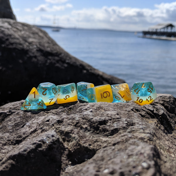 Beach Party Dice Set, Golden Sand, Breaking Waves, and Sparkling Water Layered Dice