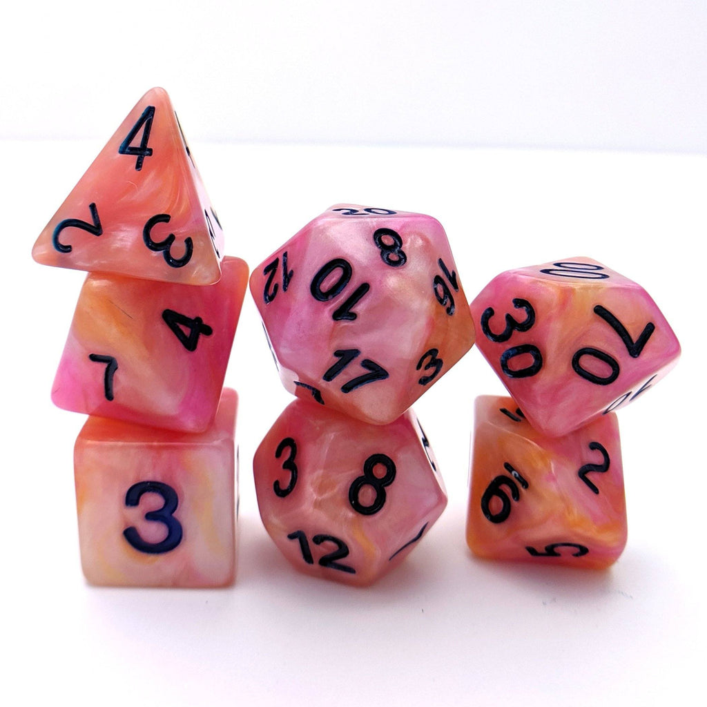 Sorbet DnD Dice Set, Pink and Orange Pearl Shimmer Dice - CozyGamer
